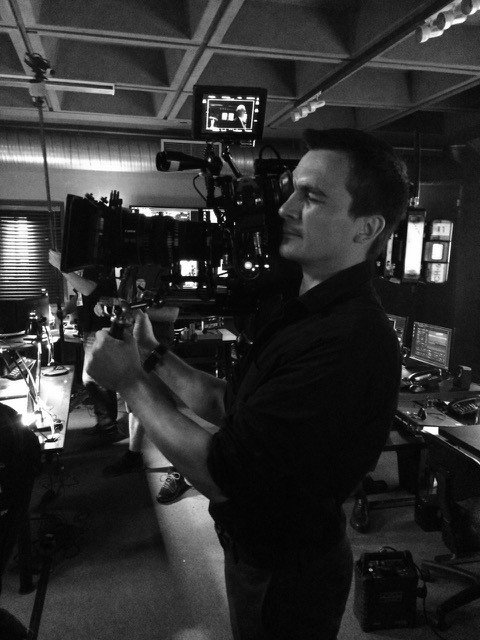 "Rupert Friend on the set of ""Homeland"" as a camera operator for a take. Credit: Rupert himself"